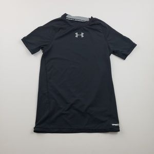Under Armour Solid Black Logo T shirt Boys fitted